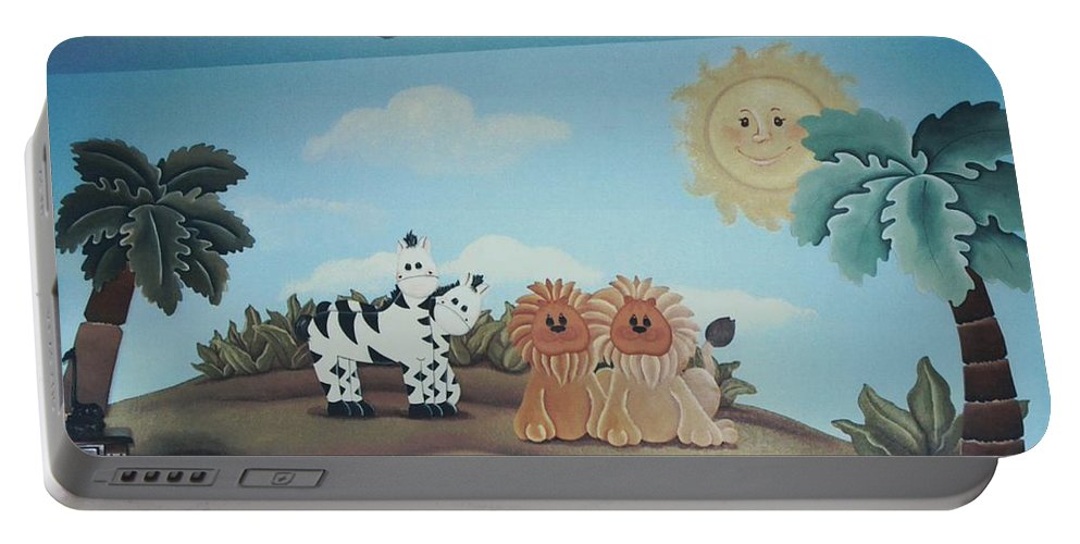 Fantasy Portable Battery Charger featuring the painting Fantasy Land by Suzn Art Memorial