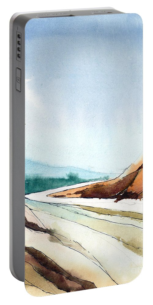 Landscape Portable Battery Charger featuring the painting Far Away by Anil Nene