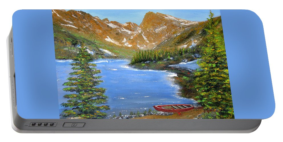 Landscape Portable Battery Charger featuring the painting Far From La, 16x20, Oil, '08 by Lac Buffamonti
