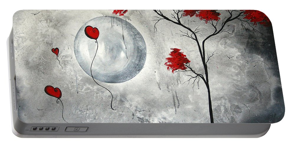 Abstract Portable Battery Charger featuring the painting Far Side Of The Moon By Madart by Megan Duncanson