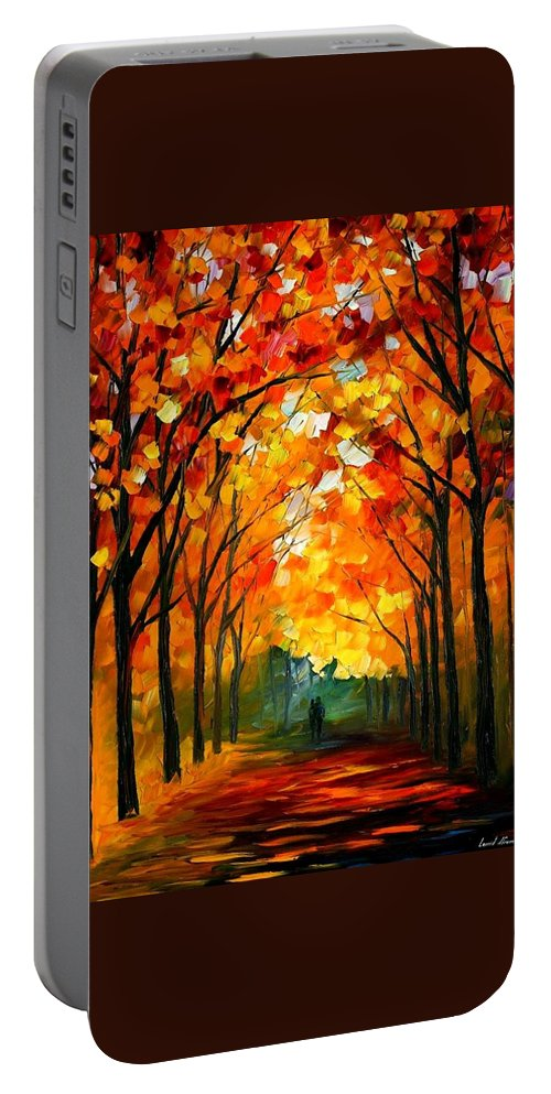 Afremov Portable Battery Charger featuring the painting Farewell To Autumn by Leonid Afremov