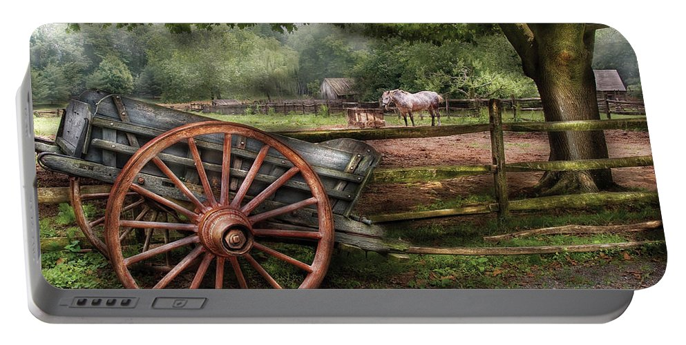 Savad Portable Battery Charger featuring the photograph Farm - Horse - Grey Mare by Mike Savad