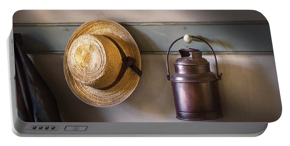 Savad Portable Battery Charger featuring the photograph Farm - Tool - The Coat Rack by Mike Savad
