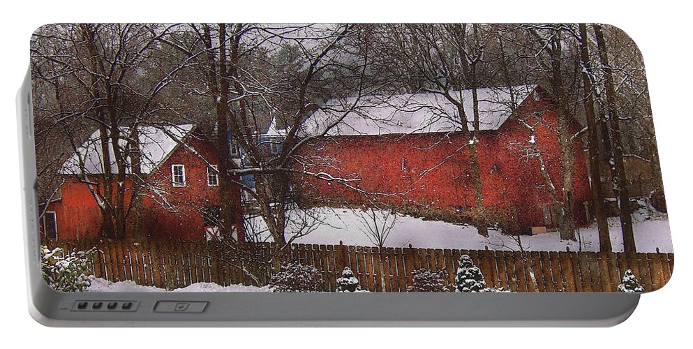 Savad Portable Battery Charger featuring the photograph Farm - Barn - Winter In The Country by Mike Savad