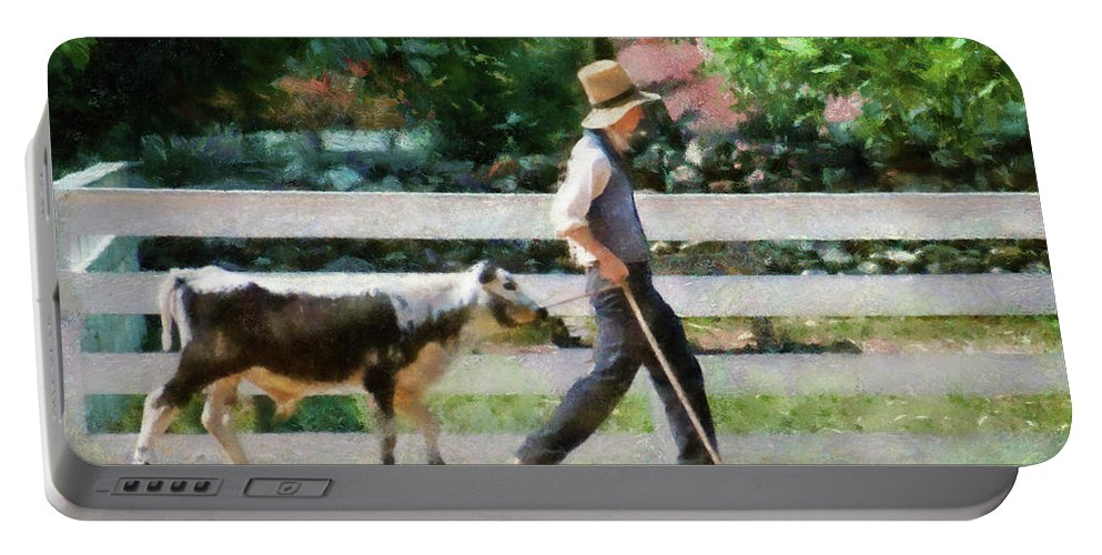 Suburbanscenes Portable Battery Charger featuring the photograph Farm - Cow -the Farmer And The Dell by Mike Savad