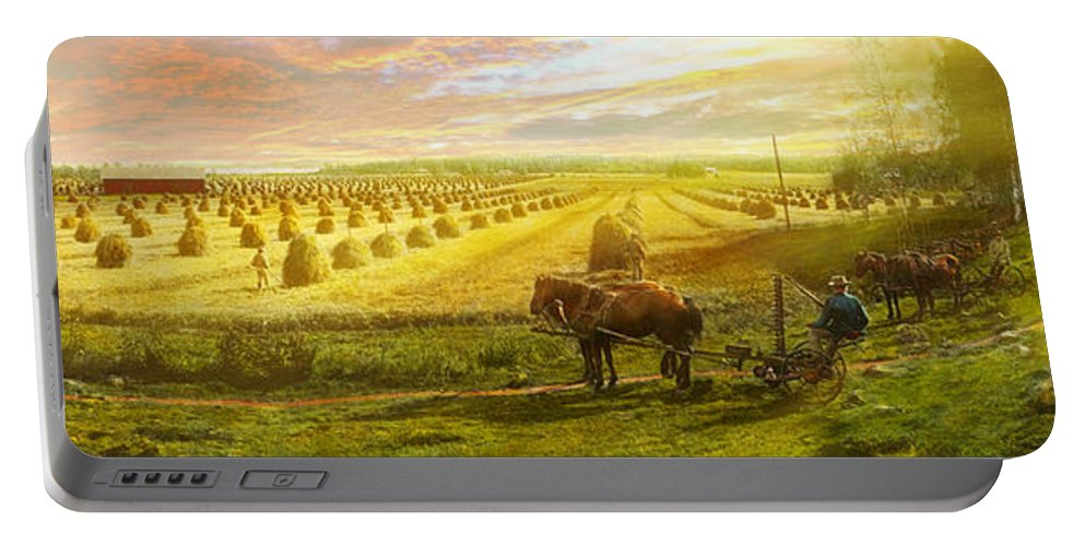 Hay Portable Battery Charger featuring the photograph Farm - Finland - Field Of Hope 1899 by Mike Savad