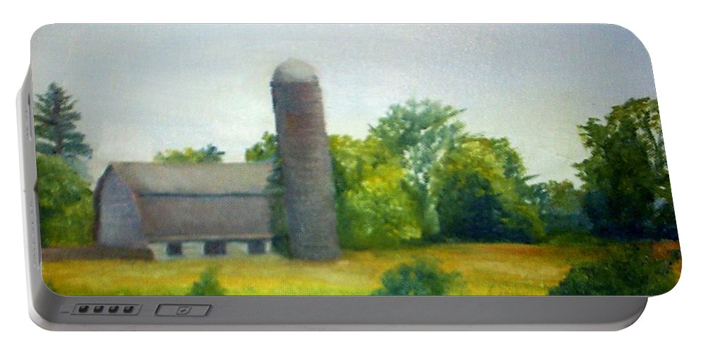 Farm Portable Battery Charger featuring the painting Farm In The Pine Barrens by Sheila Mashaw