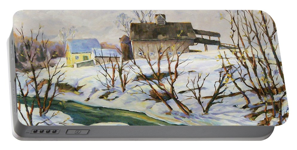 Farm Portable Battery Charger featuring the painting Farm In Winter by Richard T Pranke