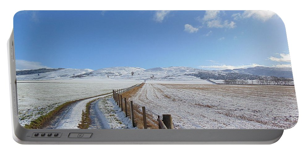 Sky Portable Battery Charger featuring the photograph Farm Track To Round Law And King's Seat by Alan K Holt