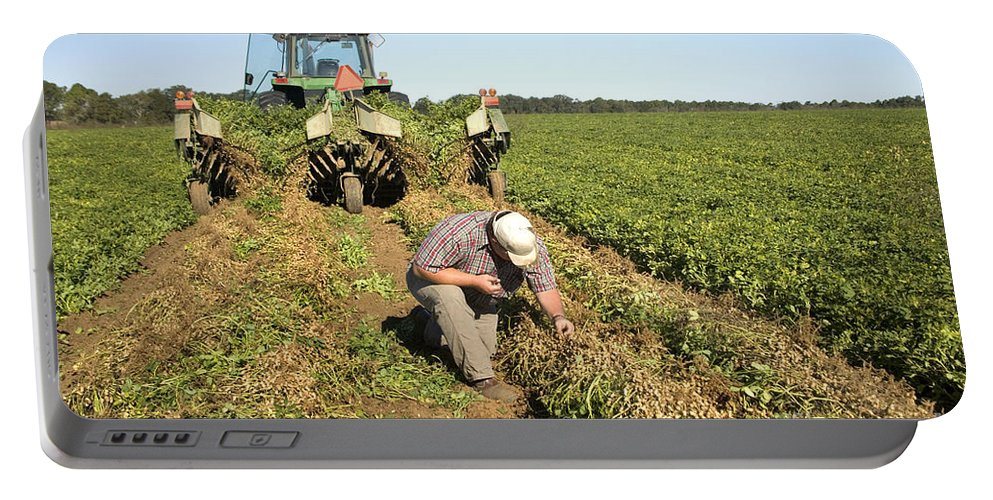 Georgia Greens Peanuts Portable Battery Charger featuring the photograph Farmer Inspects Peanut Field by Inga Spence
