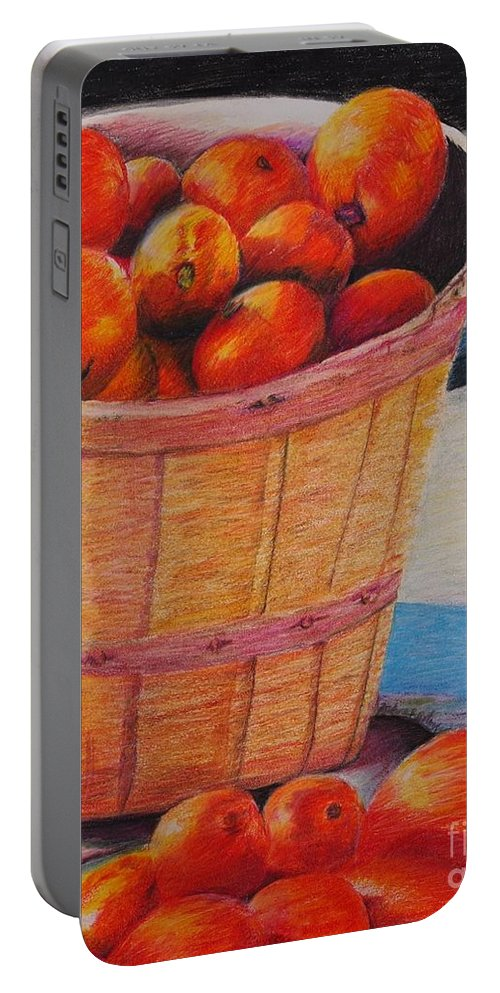 Produce In A Basket Portable Battery Charger featuring the drawing Farmers Market Produce by Nadine Rippelmeyer