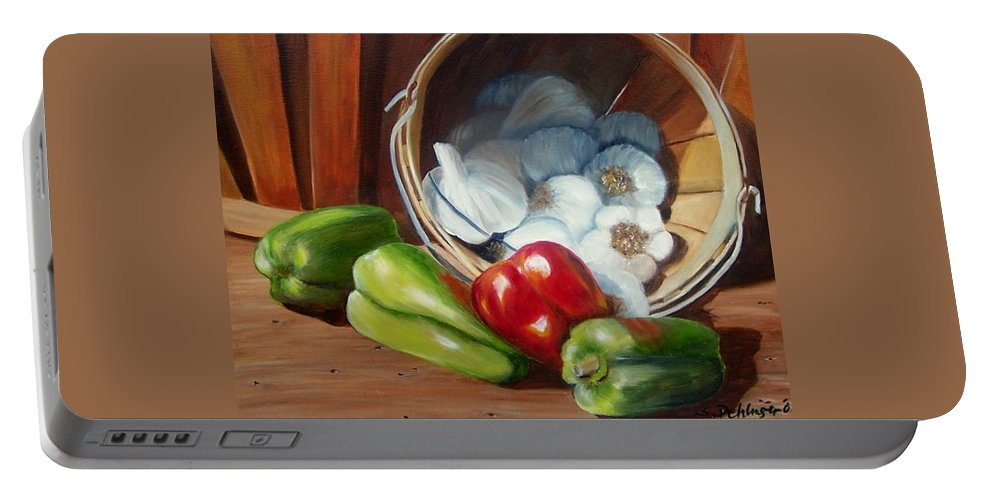 Peppers Portable Battery Charger featuring the painting Farmers Market by Susan Dehlinger