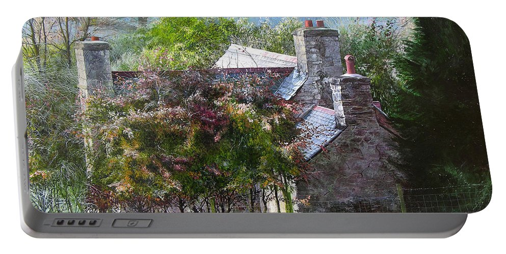Wales Portable Battery Charger featuring the painting Farmhouse On A Cold Winter Morning. by Harry Robertson