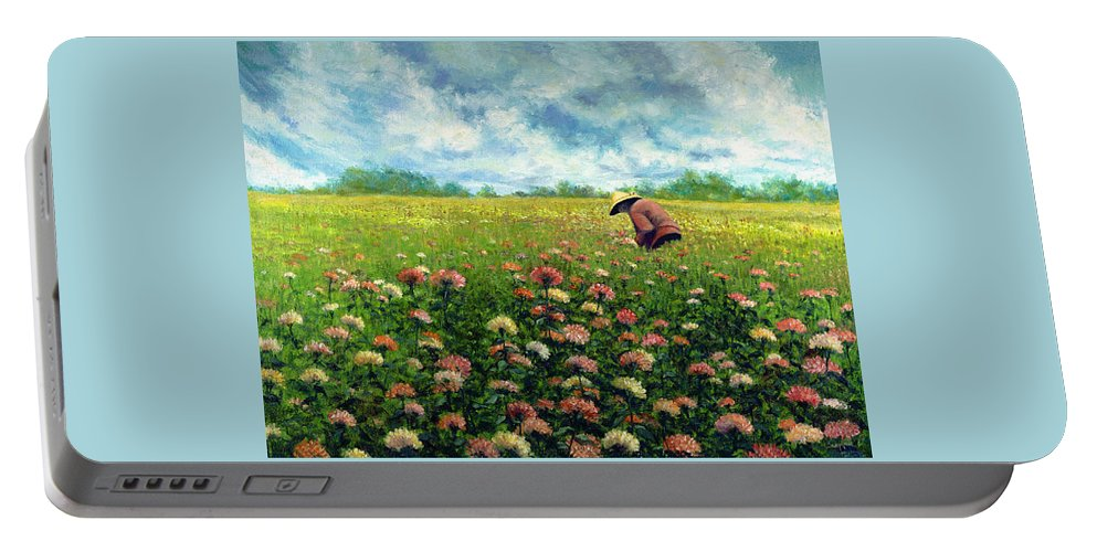 Portable Battery Charger featuring the painting Farmstand Flower Lady by Tony Scarmato
