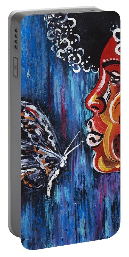 Butterfly Portable Battery Charger featuring the photograph Fascination by Artist RiA