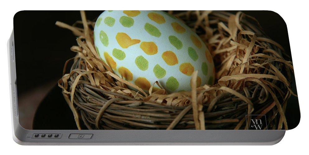 Greetings Portable Battery Charger featuring the photograph Fashionable Egg by Yvonne Wright