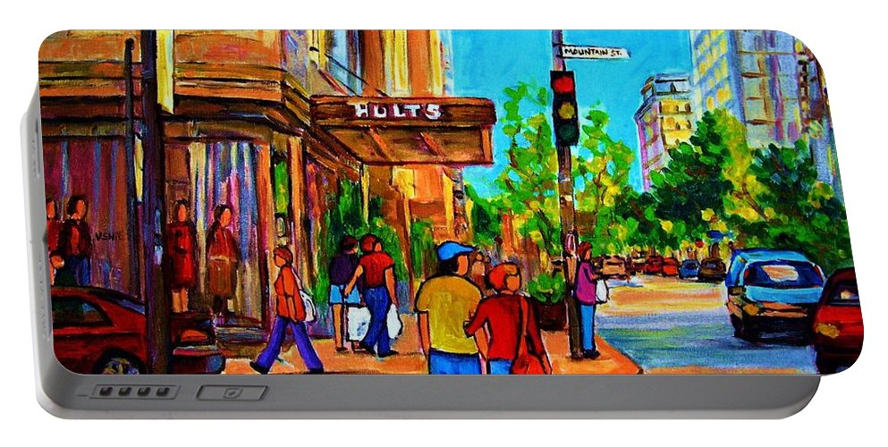 Holt Renfrew Portable Battery Charger featuring the painting Fashionable Holt Renfrew by Carole Spandau