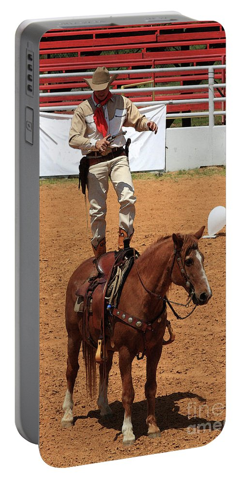 Western Art Portable Battery Charger featuring the photograph Fast Draw Cowboy by Kim Henderson
