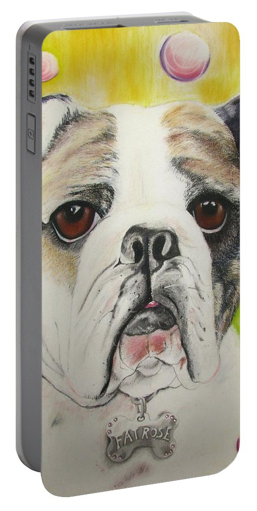 Dog Painting Portable Battery Charger featuring the pastel Fat Rose by Michelle Hayden-Marsan
