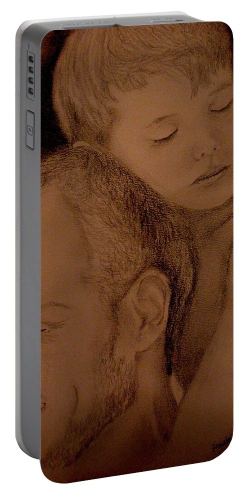 Portrait Portable Battery Charger featuring the painting Father And Son by Glory Fraulein Wolfe