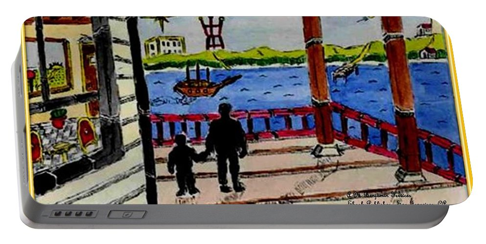 Boy Portable Battery Charger featuring the painting Father And Son On The Porch by Anthony Benjamin
