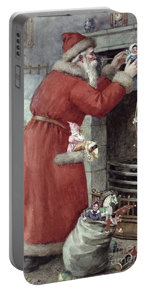 Father Portable Battery Charger featuring the painting Father Christmas by Karl Roger