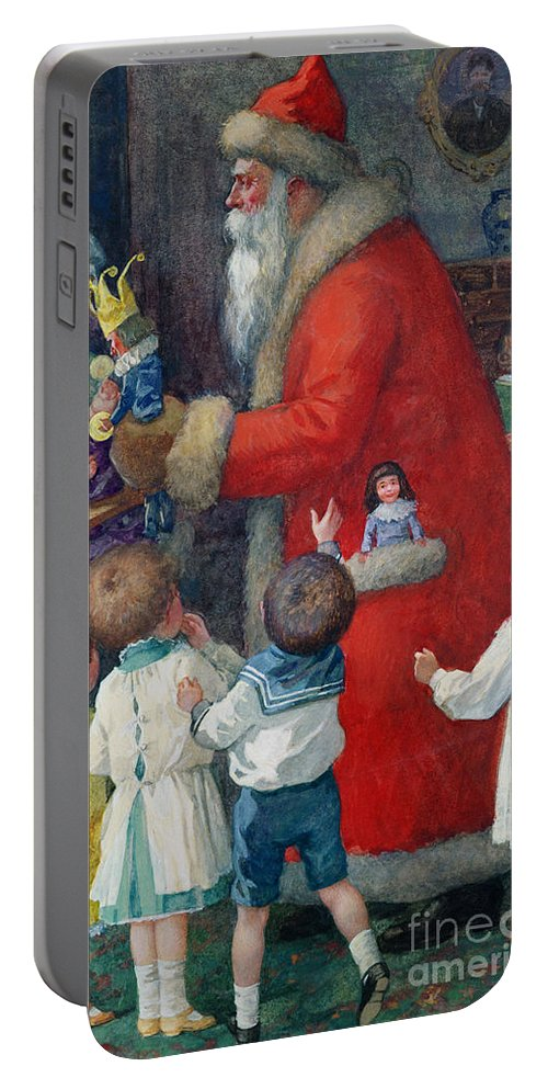 Father Christmas With Children By Karl Roger (b.1879) Portable Battery Charger featuring the painting Father Christmas With Children by Karl Roger