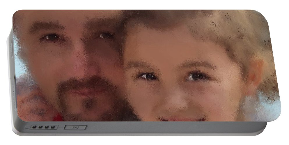 Greg Doke Portable Battery Charger featuring the painting Father Daughter by Jack Bunds