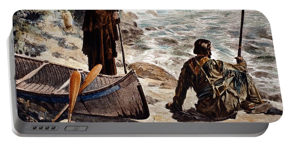 1680 Portable Battery Charger featuring the painting Father Louis Hennepin by Granger