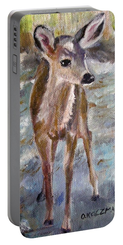 Fawn Portable Battery Charger featuring the painting Fawn by Olga Kaczmar