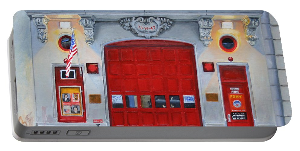 Fdny Portable Battery Charger featuring the painting FDNY Engine Company 65 by Paul Walsh