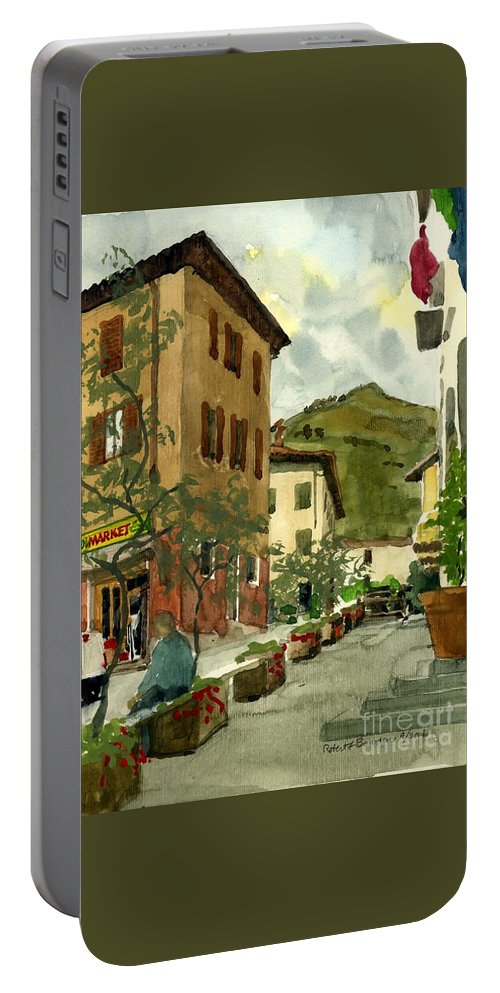 Watercolor Portable Battery Charger featuring the painting Fdr Piazza Regello by Robert Bowden