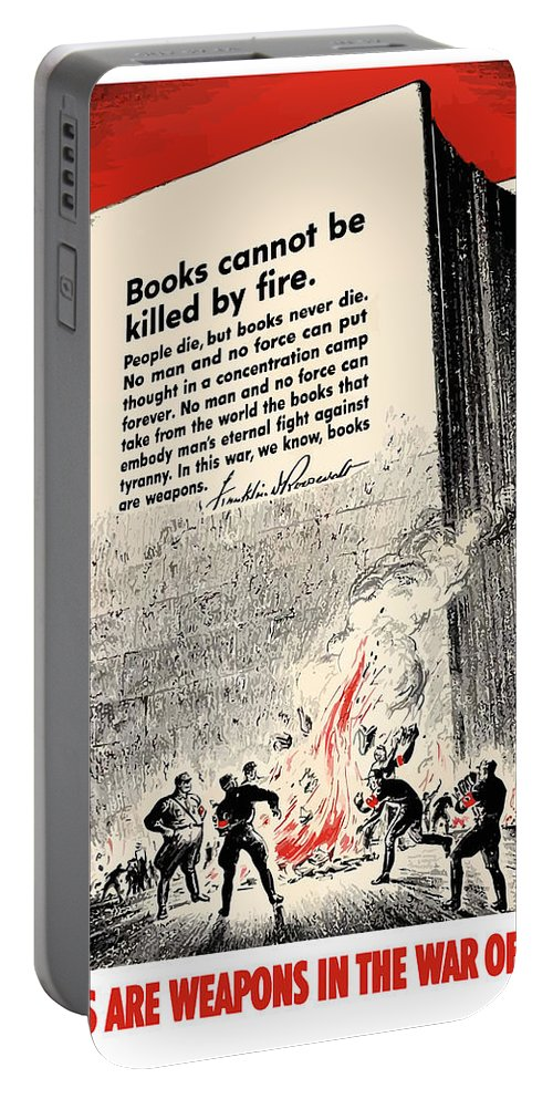 Book Burning Portable Battery Charger featuring the painting Fdr Quote On Book Burning by War Is Hell Store