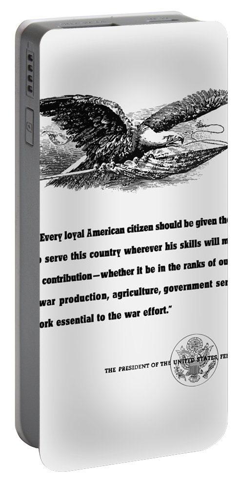 Franklin Roosevelt Portable Battery Charger featuring the digital art Fdr War Quote by War Is Hell Store