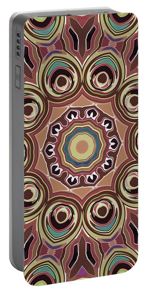 Mandala Art Portable Battery Charger featuring the painting Feather by Jeelan Clark