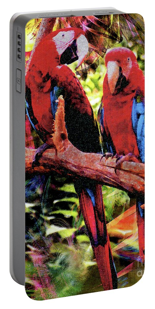 Feathered Duet Portable Battery Charger featuring the digital art Feathered Duet by John Beck