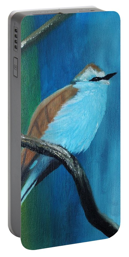 Bird Portable Battery Charger featuring the painting Feathered Friends Second In Series by Julie Lourenco
