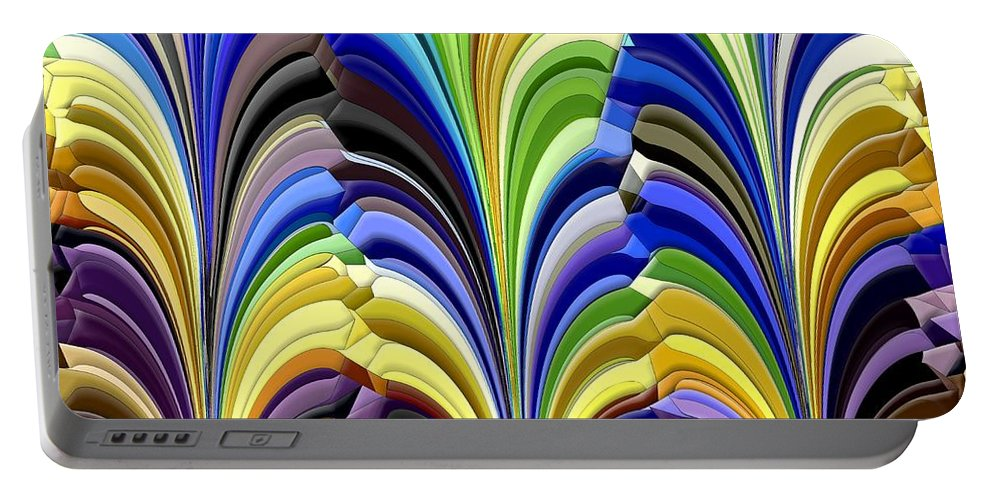Abstract Portable Battery Charger featuring the digital art Feathered Friends by Tim Allen