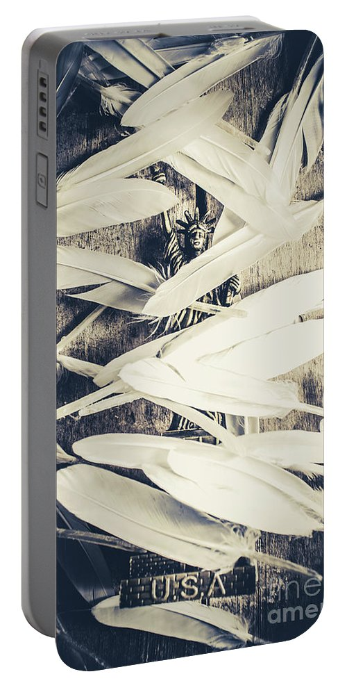 American Portable Battery Charger featuring the photograph Feathers Of Freedom And The Statue Of Liberty by Jorgo Photography - Wall Art Gallery