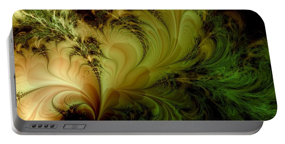 Feather Portable Battery Charger featuring the digital art Feathery Fantasy by Casey Kotas