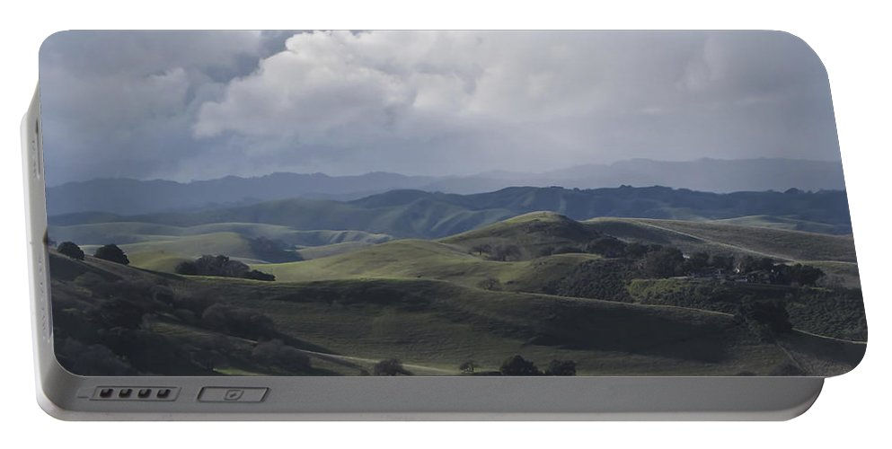 Landscape Portable Battery Charger featuring the photograph February Rain Storm by Karen W Meyer