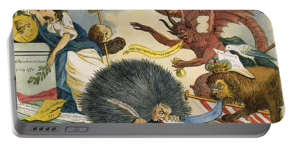 1799 Portable Battery Charger featuring the photograph Federalist Cartoon, C1799 by Granger