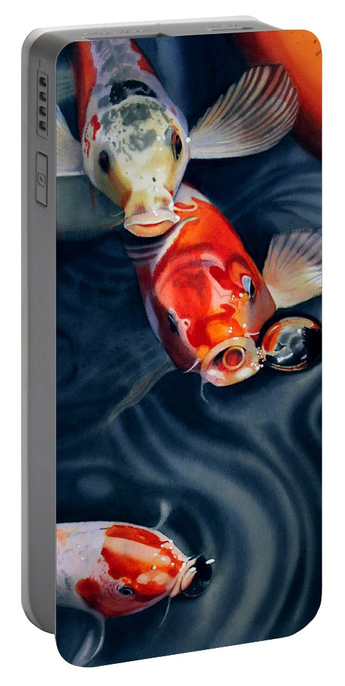 Koi Portable Battery Charger featuring the painting Feeding Frenzy by Denny Bond