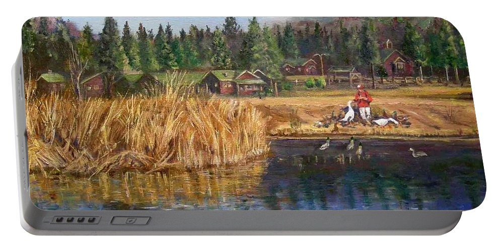 Landscape Portable Battery Charger featuring the painting Feeding The Ducks by Olga Kaczmar