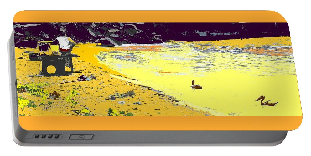 St Kitts Portable Battery Charger featuring the photograph Feeding The Pelicans by Ian MacDonald