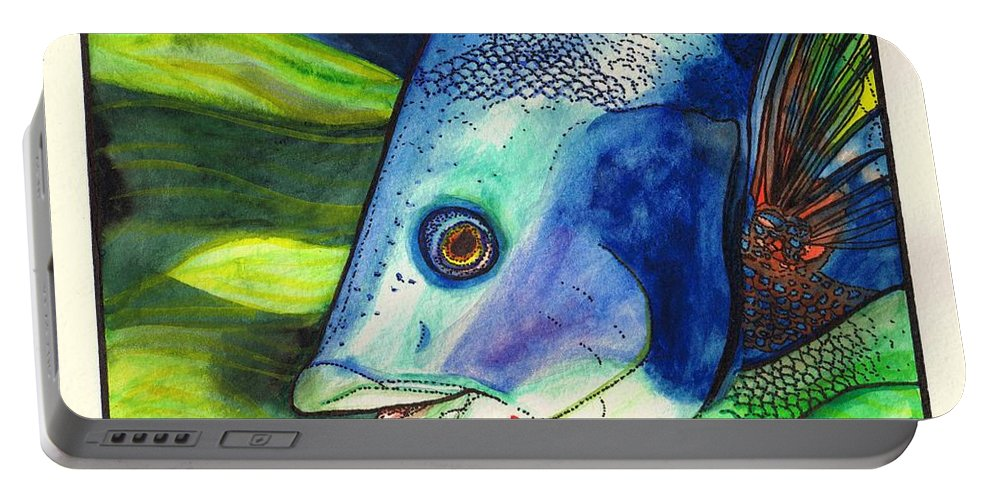Fish Portable Battery Charger featuring the painting Feeling Fishy by Chris Crowley