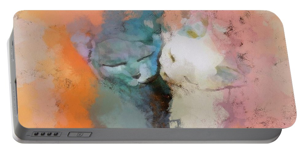 Pink Orange Feline Portable Battery Charger featuring the digital art Feline Love by Louise Lavallee