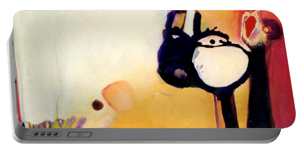 Abstract Portable Battery Charger featuring the painting Felix A Whole New Ballgame by Marlene Burns