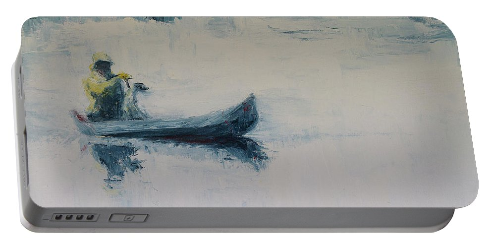 Landscape Portable Battery Charger featuring the painting Fellow Travelers by Jan Hix