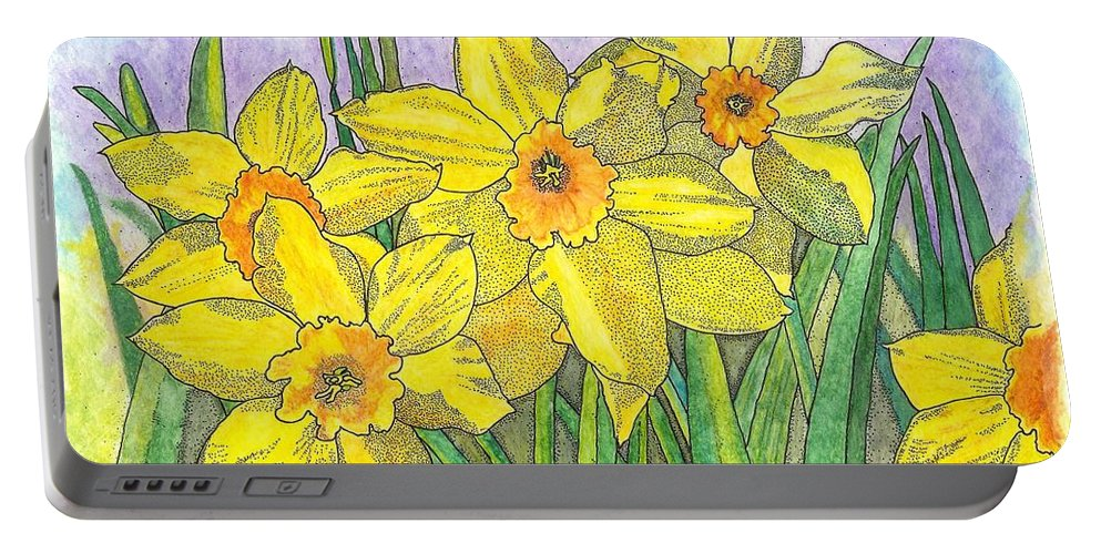 Flowers Portable Battery Charger featuring the painting Fellowship by Glenn McCarthy Art and Photography